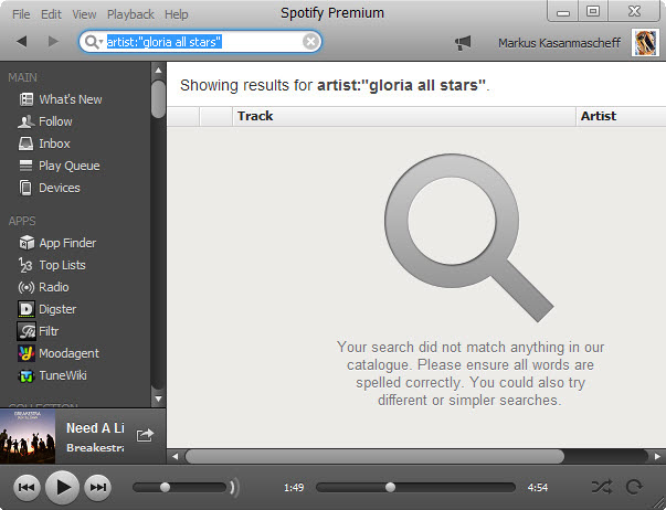 Pesquisa avançada no Spotify para encontrar um artista específico