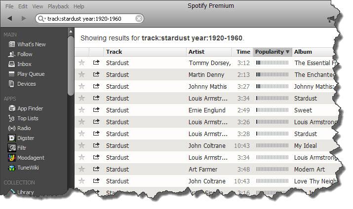 Versões da mesma música classificada por popularidade no Spotify