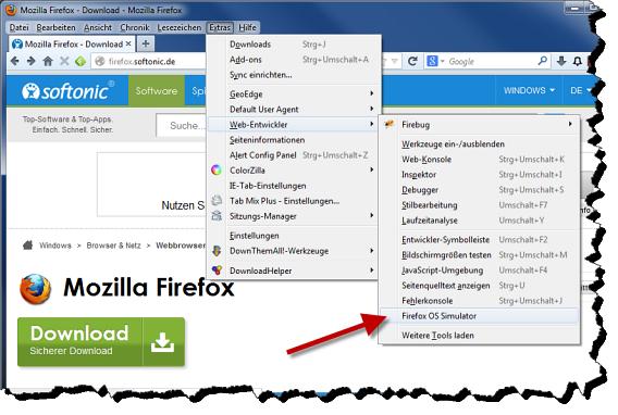Firefox OS Simulator starten 2