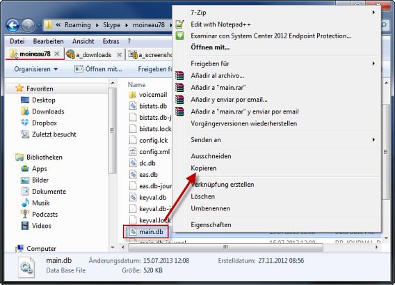 Skype main.db kopieren