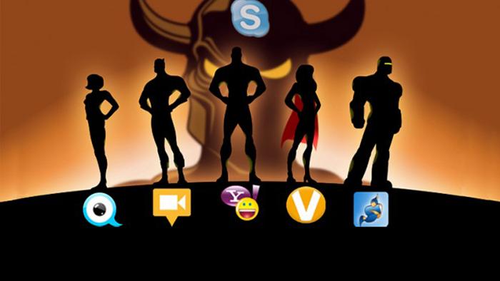 TinyChat, ooVoo, Google Hangouts, Tango, Jitsi, Yahoo! Messenger