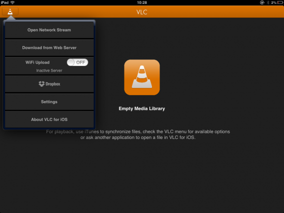 VLC for iOS Wiedergabefunktion Screenshot