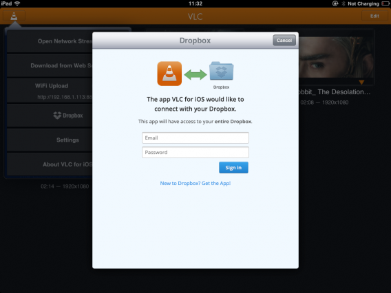 VLC for iOS Dropbox Connect