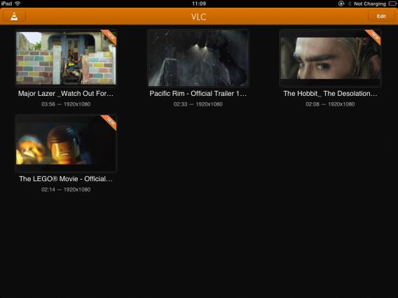 VLC for iOS Mediathek Vorschau
