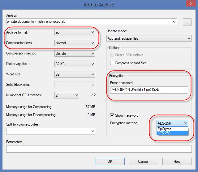 Selecione o nível de compressão desejado e o método AES de criptografia