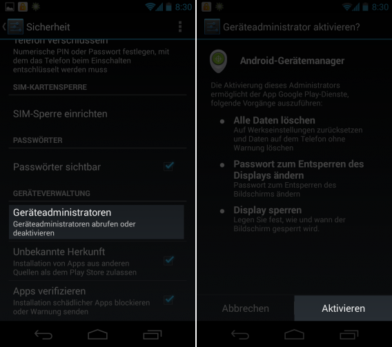 Android-Device-Manager-Aktivieren