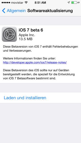 iOS 7 beta 6 Update