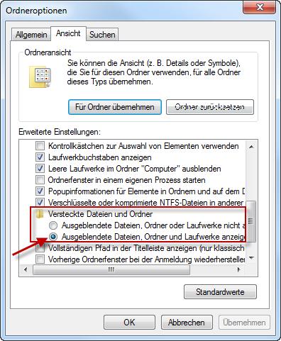 windows 7 versteckte ordner und dateien