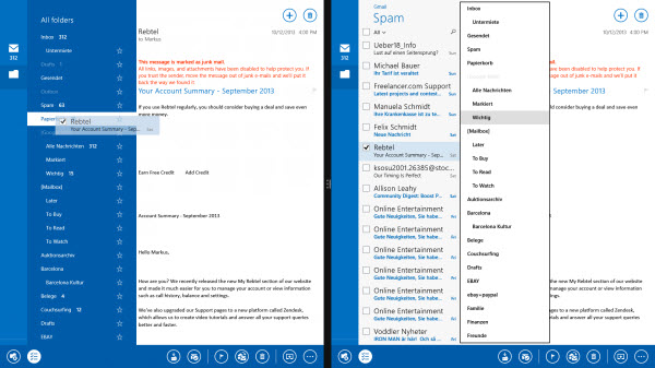 Application Courrier Windows 8.1