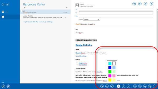 Application Courrier Windows 8.1 couleurs