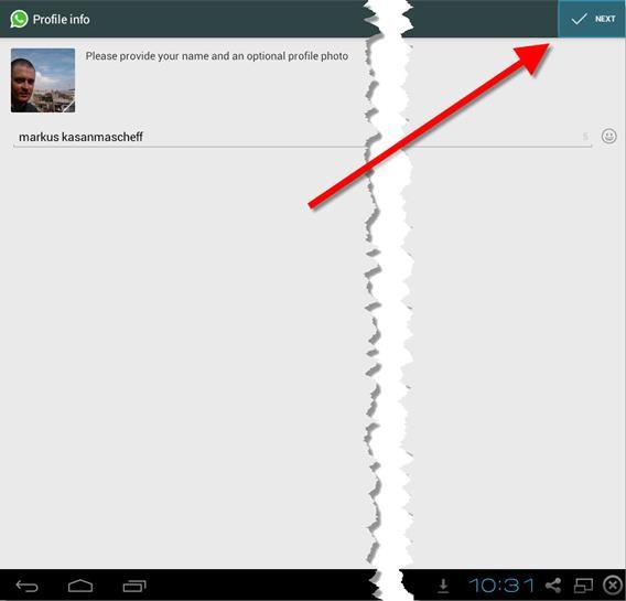 Se tudo der certo, o WhatsApp pedirá para você escolher um nome de usuário