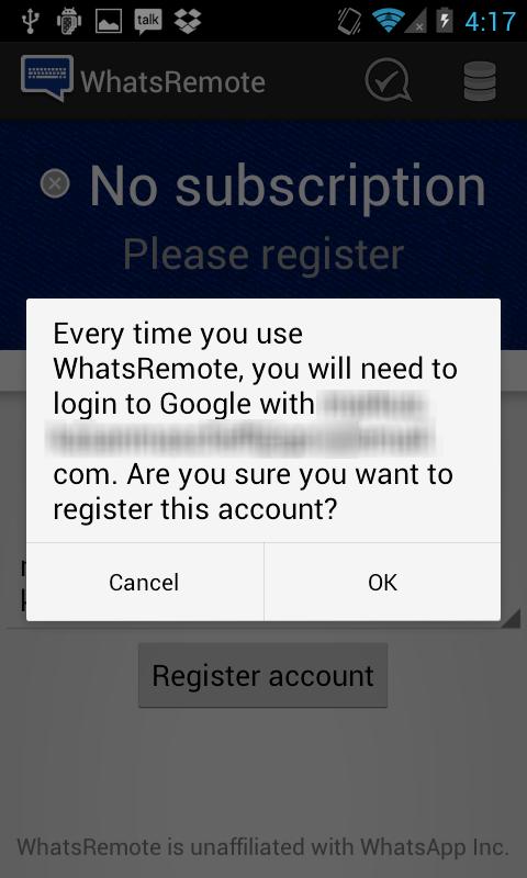 Confirmação de cadastro no WhatsRemote