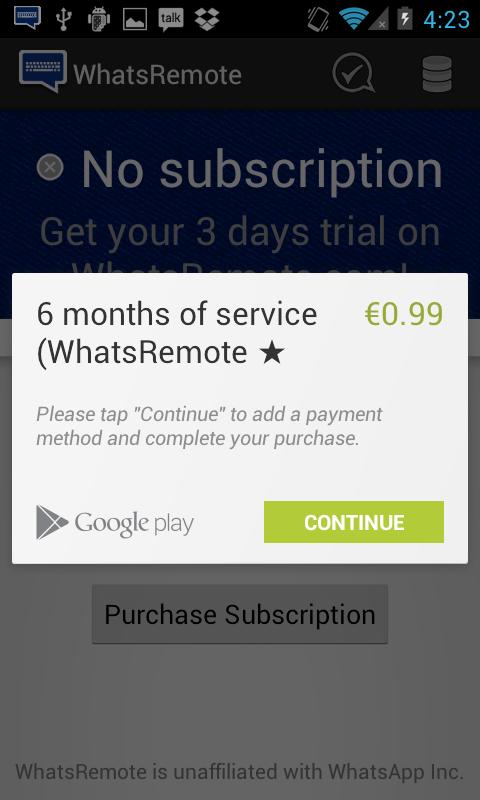 Tela para assinatura do WhatsRemote por seis meses