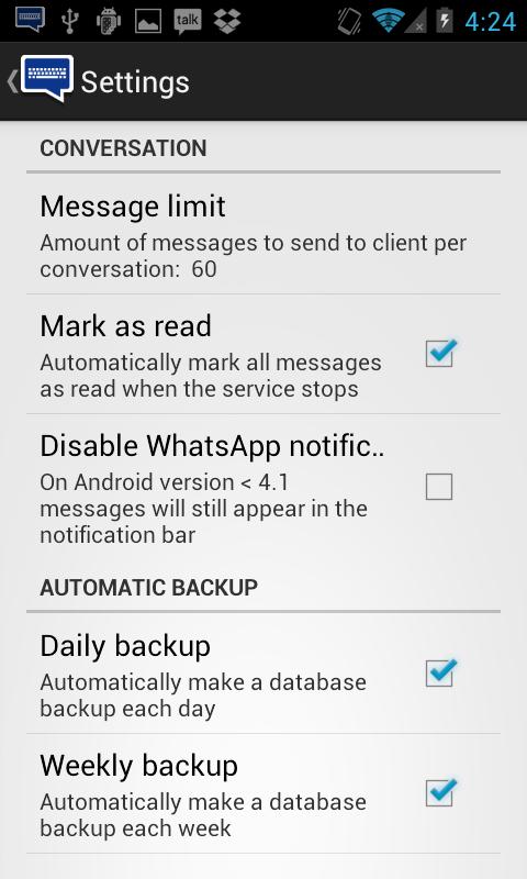 Tela de configuração do WhatsRemote