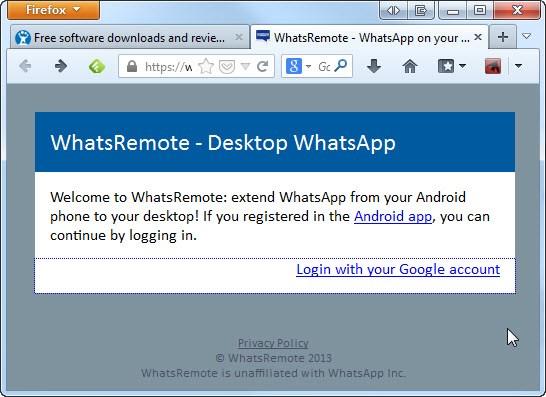 Página principal do WhatsRemote