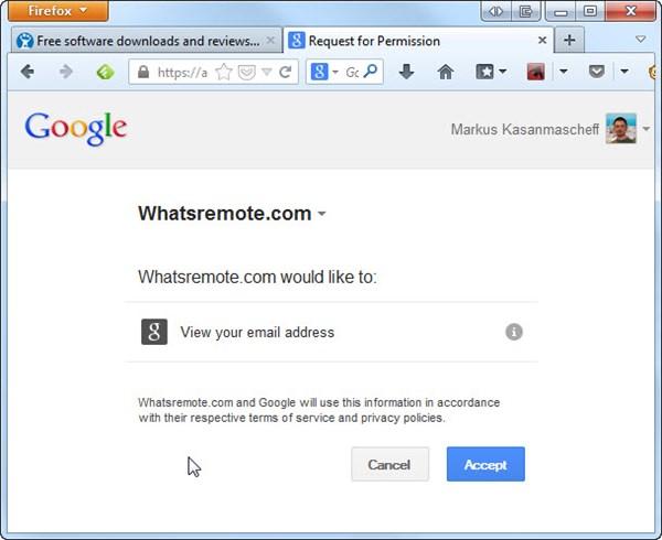 Confirmação do acesso à conta Google pelo WhatsRemote. Clique em Aceitar