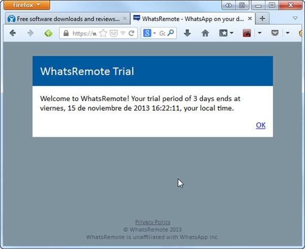 Tela de confirmação do WhatsRemote. Clique em OK