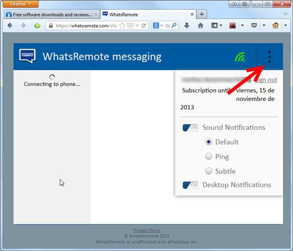 WhatsRemote aberto no navegador