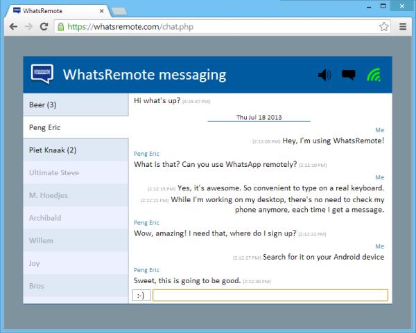 Tela de conversas do WhatsRemote com a lista de contatos e grupos na esquerda