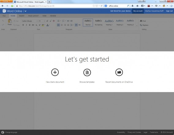 Tela de inicialização do Word Online