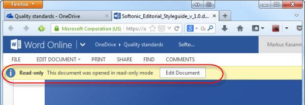Você pode editar o documento no Word para desktop