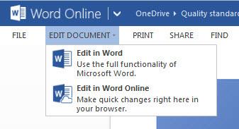 Interação entre o Office online e desktop