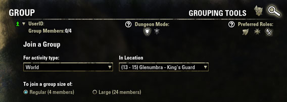 Elder Scrolls Online - Group Search