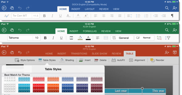 Office for iPad ribbon toolbar