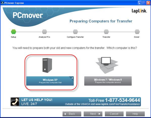 PCmover : Sélectionnez l'option Windows XP