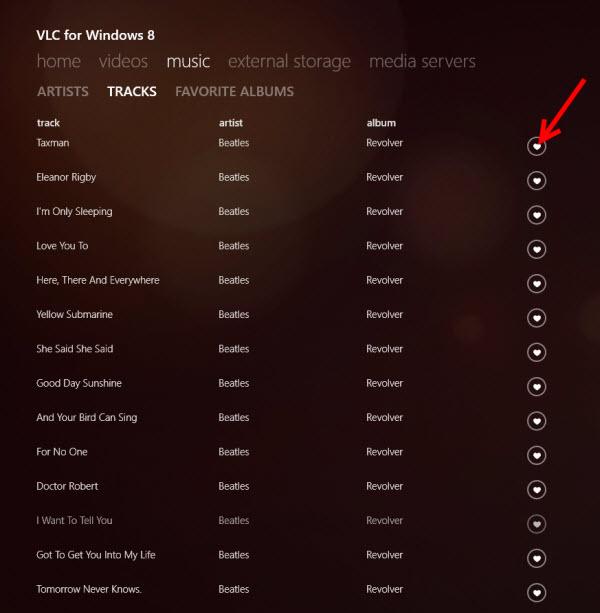 VLC - Liste de chansons