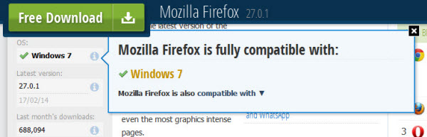 Mozilla Firefox on Softonic shows Windows 7 compatibility