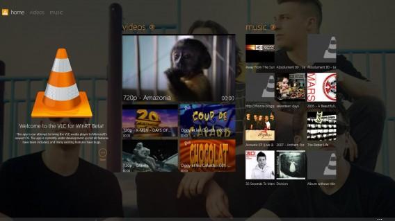 VLC Windows 8 Startbildschirm