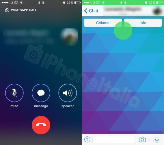 WhatsApp: Screenshot der Telefonfunktion (iPhoneItalia)