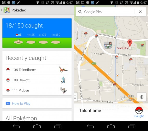 Google Pokémon Challenge Screenshot