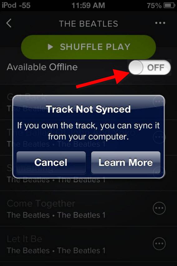 Botão para sincronizar músicas do PC no Spotify
