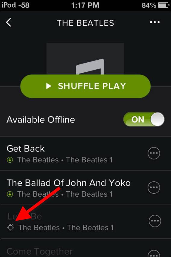 Espere a sincronização entre PC e Spotify terminar