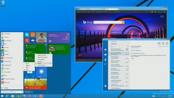 Interface do Menu Iniciar do Windows 9 é um pouco diferente