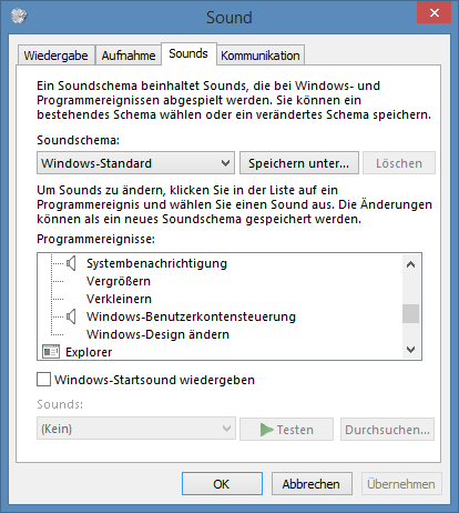 Menü Sounds in Windows 8