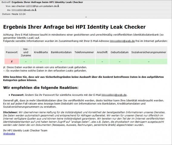 Ergebnis eines Identity Leak Checker