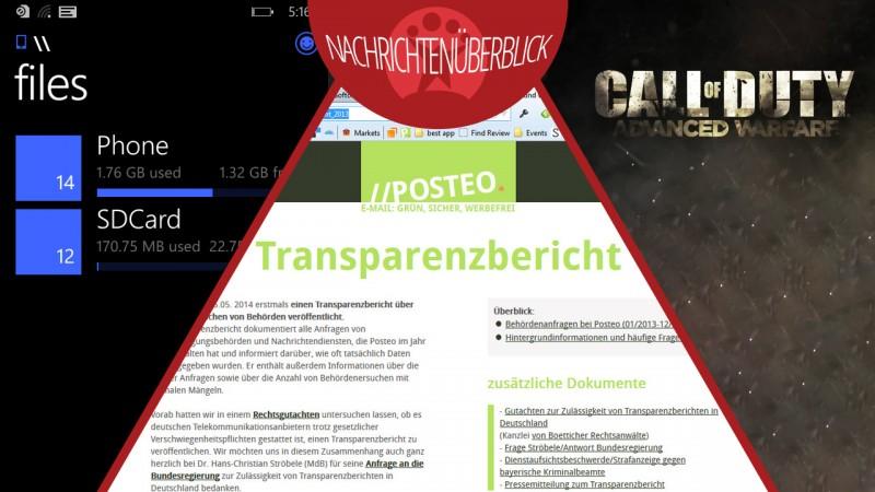 Erster deutscher Transparenzbericht, Dateimanager für Windows Phone und neues zu Call of Duty