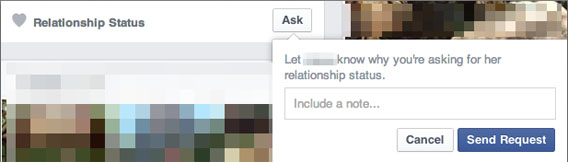 Facebook: ASK-Button zur Abfrage des Beziehungsstatus - Screenshot