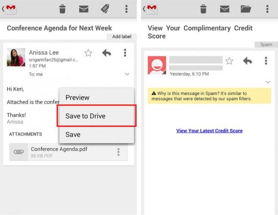 Gmail-App für Android Update Screenshot