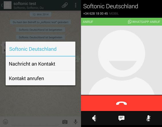 WhatsApp Android Telefoniefunktion WhatsApp CAll Screenshot