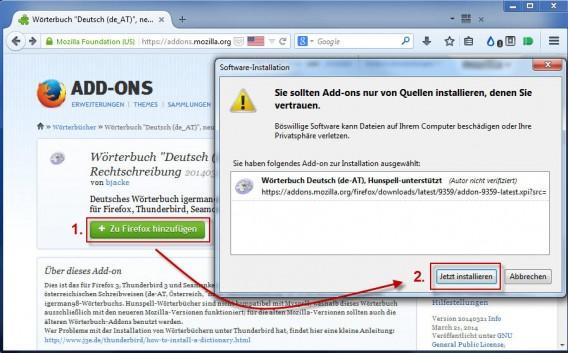Firefox: Wörterbuch installieren