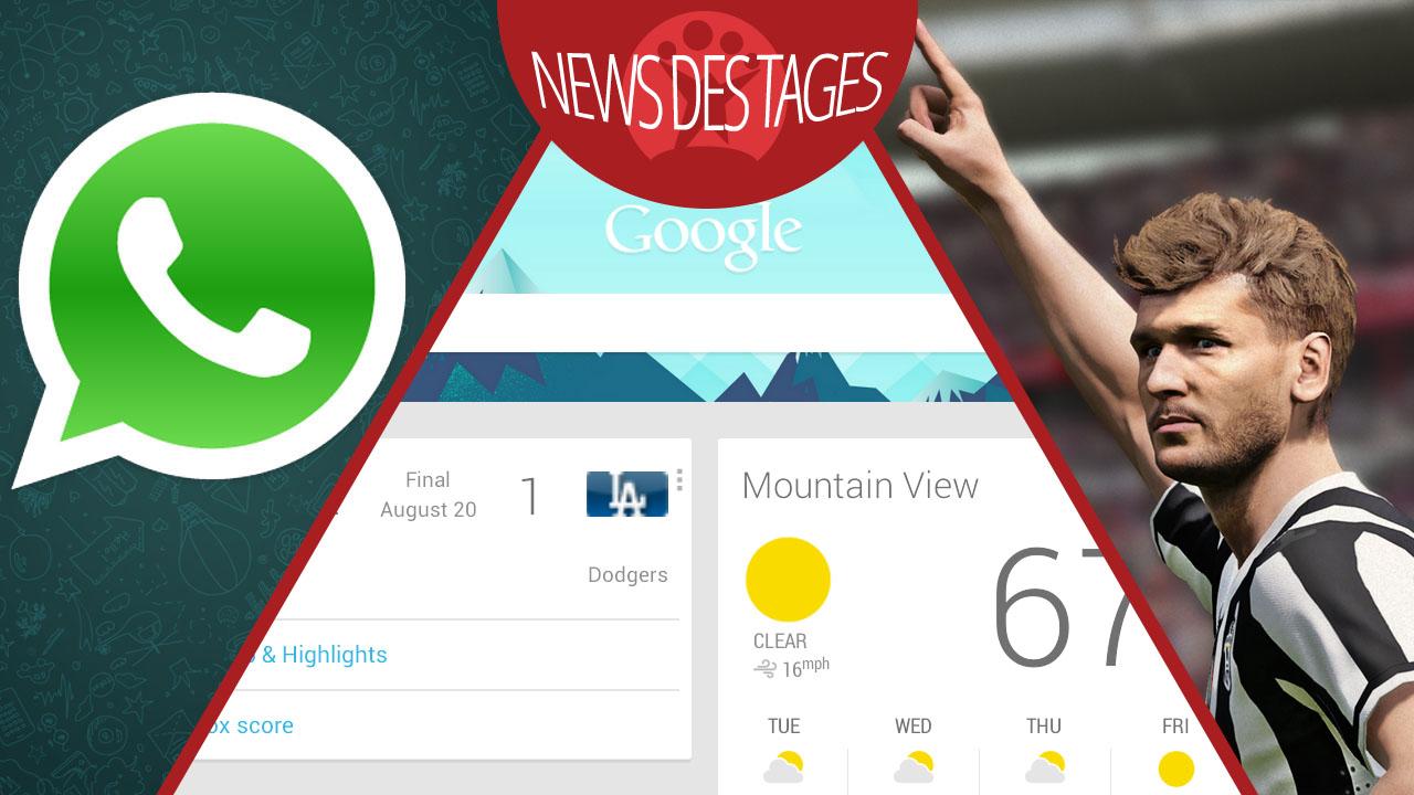 News des Tages: Pro Evolution Soccer 2015, OK Google für Android, WhatsApp für Windows Phone