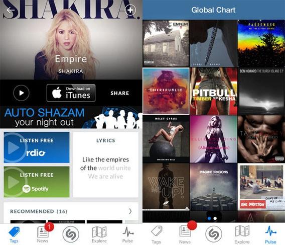 Shazam: Integration von Rdio zum Abspielen erkannter Musiktitel