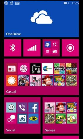 Live Tile pode ser redimensinado para mostrar mais ícones