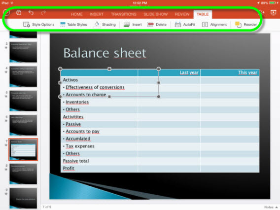 Office pour ipad - menu