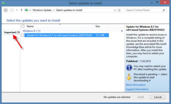 Windows Update exibe as atualizações de acordo com a relevância