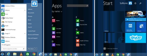Menu Démarrer de Sart8 pour Windows 8